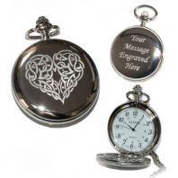 Celtic Heart Pocket Watch Arabic Numerals Quartz